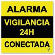 Cartel autoadhesivo disuasorio alarma 15x15 Alarma 24H Conectada
