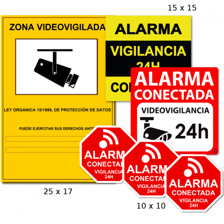 Pack 6 vinilos disuasorios Zona Videovigilada CCTV LOPD Alarma Conectada Videovigilancia 24H pegatinas autoadhesivas