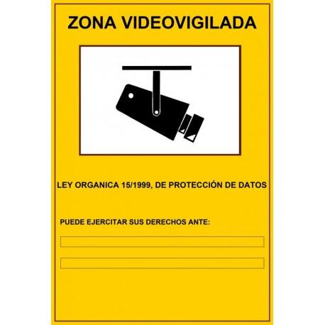 Cartel Zona Videovigilada 29,7 x 21 CM autoadhesivo para cámaras de seguridad CCTV LOPD