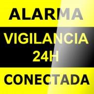 Cartel autoadhesivo para cristal 15x15 Alarma 24H Vigilancia Conectada
