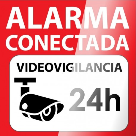Cartel autoadhesivo para cristal 15x15 Alarma Conectada Videovigilancia 24H